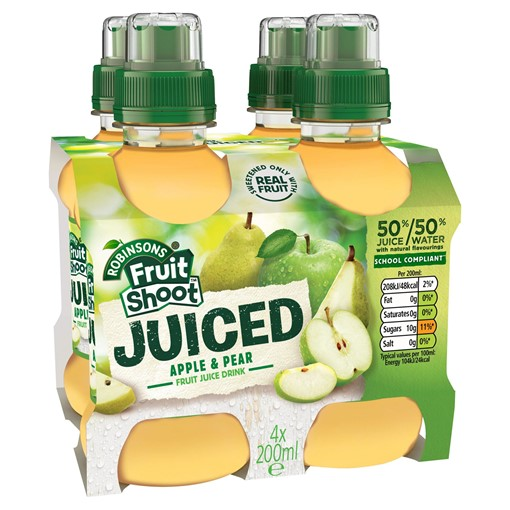 Picture of Robinsons Fruit Shoot Juiced Apple & Pear Fruit Juice Drink 4 x 200ml