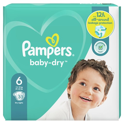 Picture of Pampers Baby-Dry Size 6, 33 Nappies, 13-18kg, Essential Pack