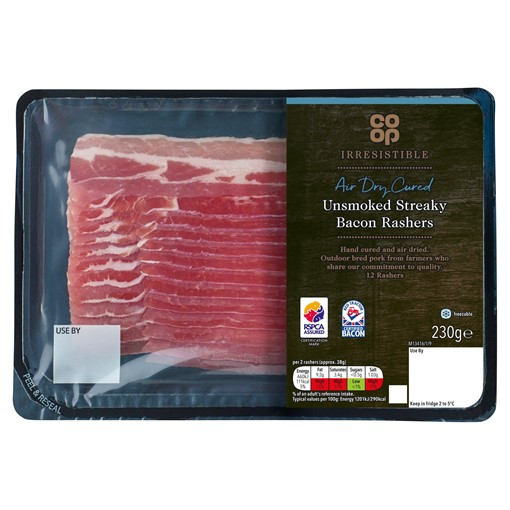 Picture of Co-op Irresistible 12 Air Dry Cured Unsmoked Streaky Bacon Rashers 230g