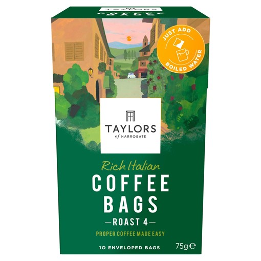 Picture of Taylors of Harrogate Rich Italian Coffee Bags 10 Enveloped Bags 75g