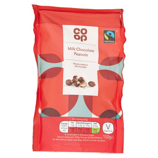 Picture of Co Op Fairtrade Milk Chocolate Peanuts 150g