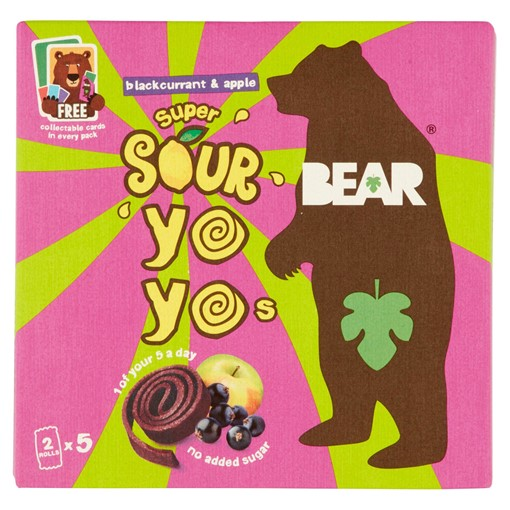 Picture of Bear Super Sour Yoyos Blackcurrant & Apple 5 x 20g