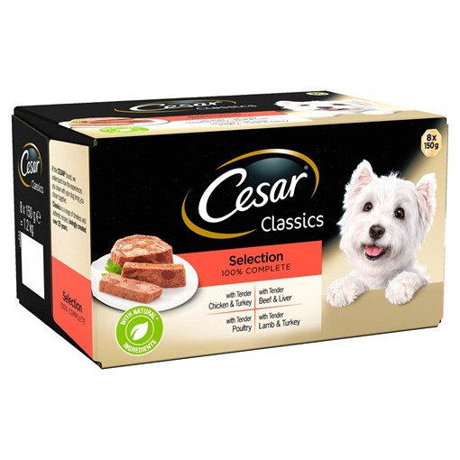 Picture of Cesar Classics Wet Dog Food Trays Mixed Selection in Loaf 8 x 150g
