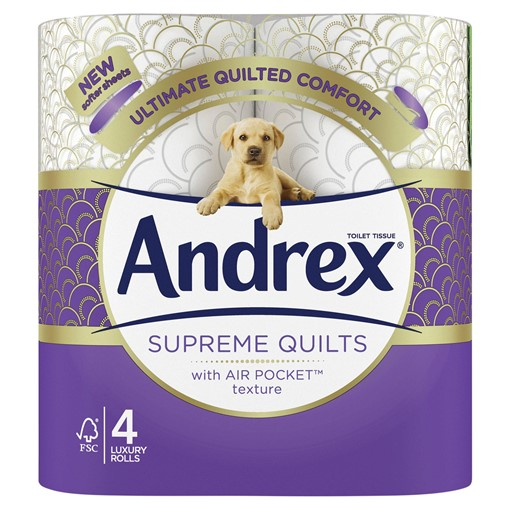 Picture of Andrex Supreme Quilts, Quilted Toilet Roll, 4 Rolls