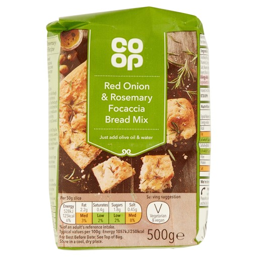 Picture of Co Op Red Onion & Rosemary Focaccia Bread Mix 500g