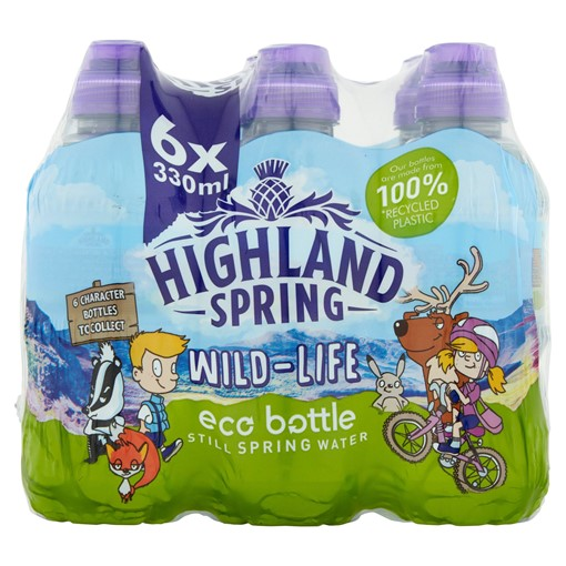 Picture of Highland Spring Wild-Life Eco Bottle Still Spring Water 6 x 330ml