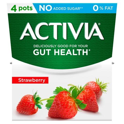 Picture of Activia Strawberry No Added Sugar 0% Fat Yogurt 4 x 120g (480g)