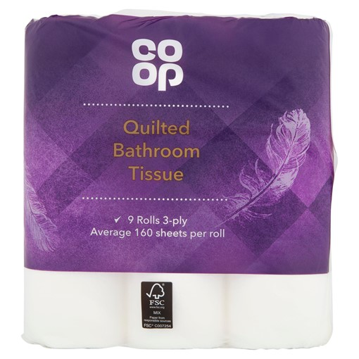 Picture of Co Op Quilted Bathroom Tissue 9 Rolls 3-Ply