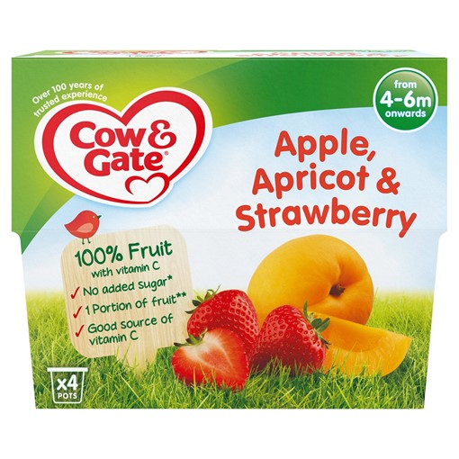 Picture of Cow & Gate Apple Apricot & Strawberry Fruit Puree Pots 4 x 100g
