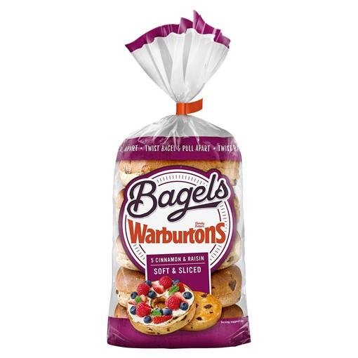 Picture of Warburtons 5 Bagels Cinnamon & Raisin