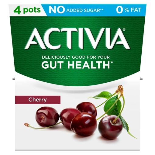 Picture of Activia Cherry No Added Sugar 0% Fat Yogurt 4 x 120g (480g)