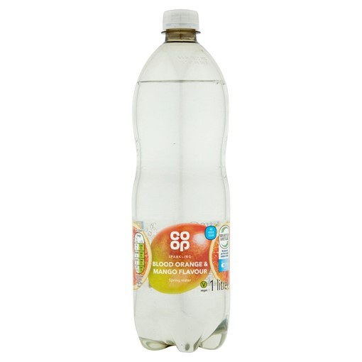 Picture of Co-op Sparkling Blood Orange & Mango Flavour Unsweetened Spring Water 1 Litre
