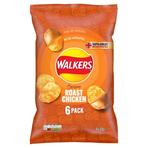 Picture of Walkers Roast Chicken Multipack Crisps 6x25g