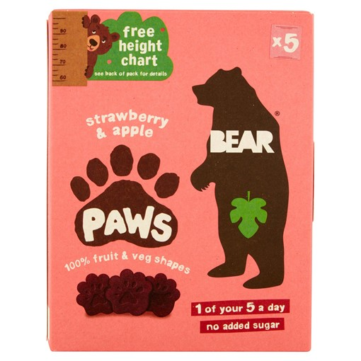 Picture of BEAR Pure Fruit Paws Strawberry & Apple 5 x 20g