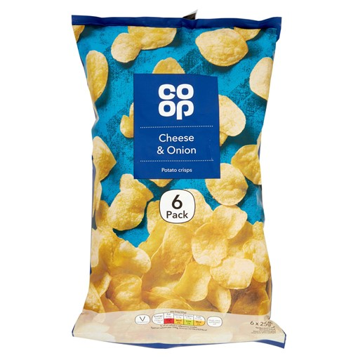 Picture of Co Op Cheese & Onion Potato Crisps 6 x 25g