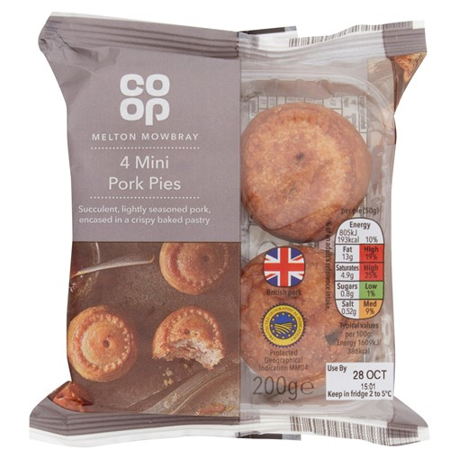 Picture of Co-op 4 Melton Mowbray Mini Pork Pies 200g