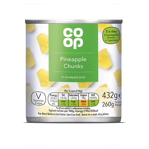 Picture of Co Op Pineapple Chunks in Pineapple Juice 432g