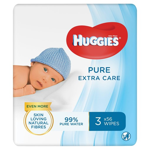 Picture of Huggies® Pure 'Extra Care' Baby Wipes - 3 Pack (56 Wipes/Pack, 168 Wipes Total)