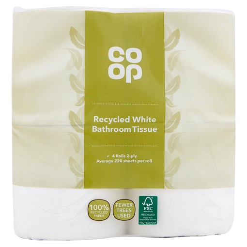 Picture of Co Op Recycled White Bathroom Tissue 4 Rolls 2-Ply