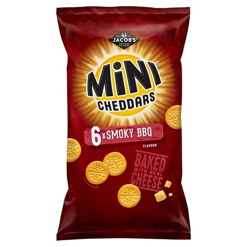 Picture of Jacob's Mini Cheddars Smoky BBQ Flavour Cheese Snacks 6x150g