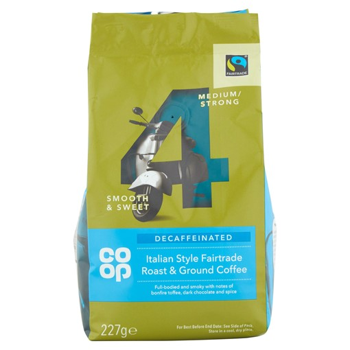 Picture of Co-op Decaffeinated Italian Style Fairtrade Roast & Ground Coffee 227g