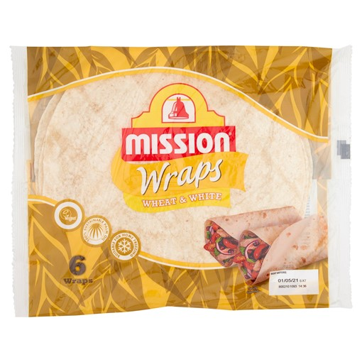 Picture of Mission Deli 6 Wheat & White Wraps 367g
