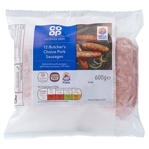 Picture of Co-op Outdoor Bred 12 Butcher's Choice Pork Sausages 600g