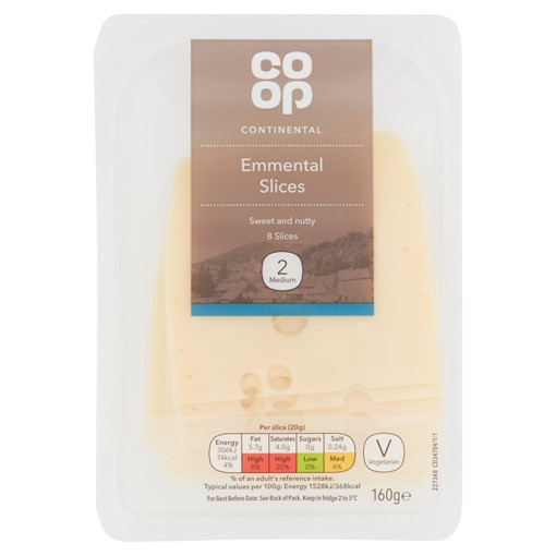 Picture of Co Op Continental 8 Emmental Slices 160g