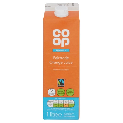 Picture of Co-op Fairtrade Smooth Orange Juice from Concentrate 1 Litre