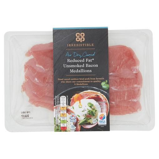 Picture of Co-op Irresistible Air Dry Cured Reduced Fat 8 Unsmoked Bacon Medallions 200g