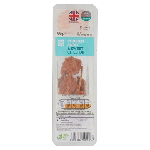 Picture of Co-op Chicken Satay & Sweet Chilli Dip 55g