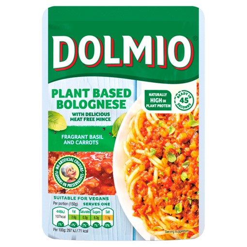 Picture of Dolmio Vegan Mince Bolognese Sauce Basil & Carrots 150g