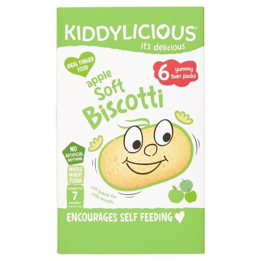 Picture of Kiddylicious Biscotti, Apple, Baby Snack, 7 Months+, Multipack, 6 x 20g