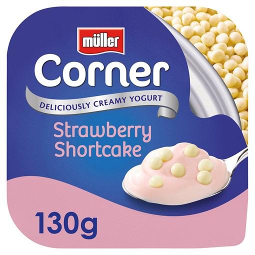 Picture of Müller Corner Strawberry Yogurt with White Chocolate Shortcake Balls 130g