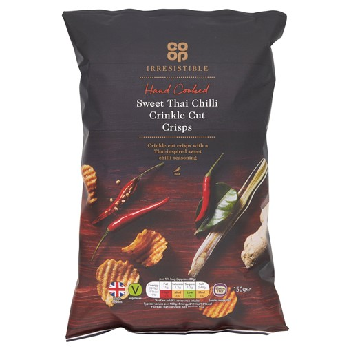 Picture of Co-op Irresistible Hand Cooked Sweet Thai Chilli Crinkle Cut Crisps 150g