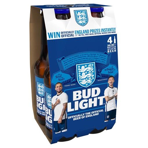 Picture of Bud Light Lager Beer Bottles 4 x 300ml