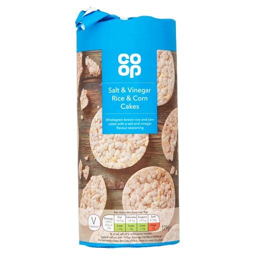 Picture of Co Op Salt & Vinegar Rice & Corn Cakes 129g