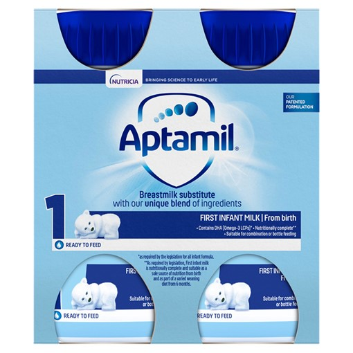 Picture of Aptamil 1 First Baby Milk Formula Multipack from Birth 4 x 200ml