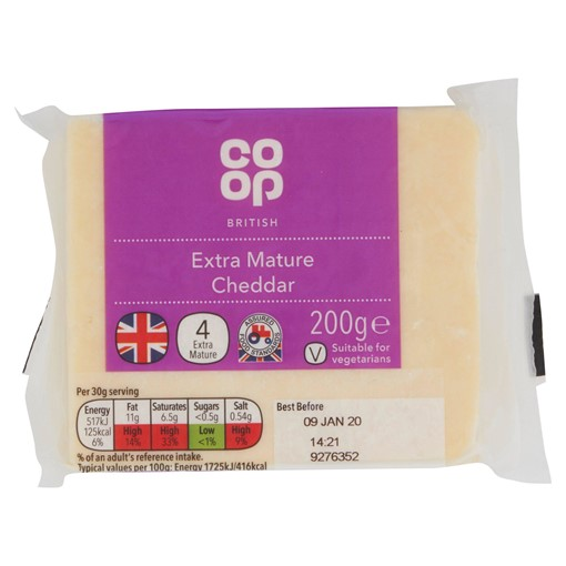 Picture of Co Op British Extra Mature Cheddar 200g