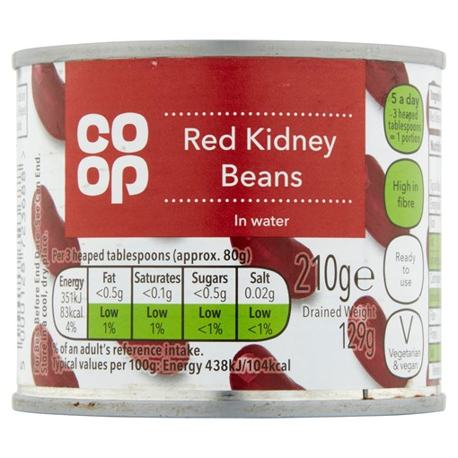 Picture of Co-op Red Kidney Beans in Water 210g