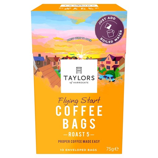 Picture of Taylors of Harrogate Flying Start Coffee Bags 10 Enveloped Bags 75g