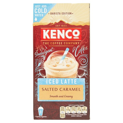 Picture of Kenco Iced Latte Salted Caramel Instant Coffee Sachets x8