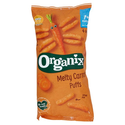 Picture of Organix Melty Carrot Puffs Organic Baby Finger Food Snack Multipack 4 x 18g