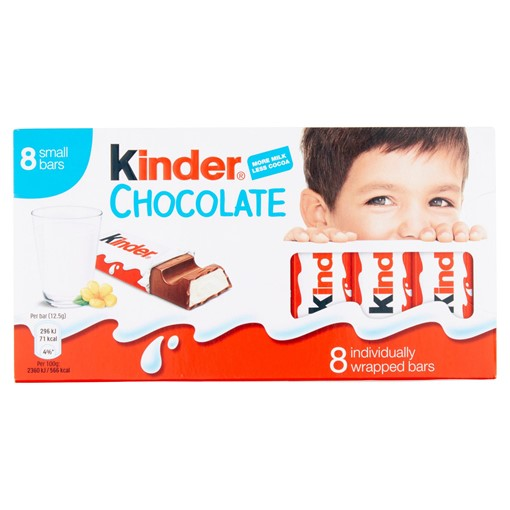 Picture of Kinder Small Chocolate Bars Multipack 8 x 12.5g (100g)