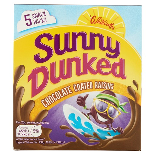 Picture of Whitworths Sunny Dunked Chocolate Coated Raisins 5 x 25g (125g)