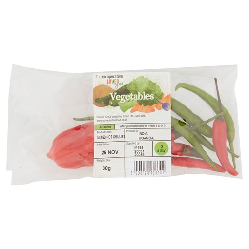 Picture of The Co-operative Loved by Us Vegetables Mixed Hot Chillies 30g