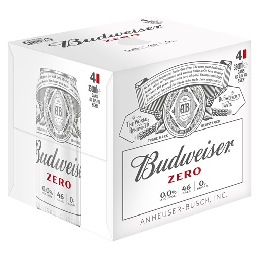 Picture of Budweiser Prohibition Brew Alcohol Free Beer Cans 4 x 330ml