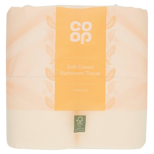 Picture of Co Op Soft Cream Bathroom Tissue 2 Ply 4 Rolls