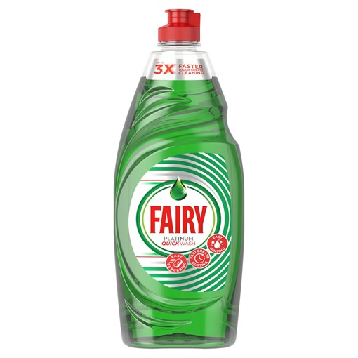 Picture of Fairy Platinum Quickwash Original Washing Up Liquid With Up To 3X Faster Tough Grease Cleaning 625ml
