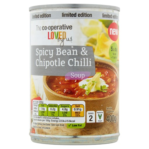 Picture of Co-op Loved by Us Limited Edition Spicy Bean & Chipotle Chilli Soup 400g